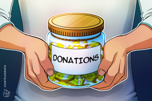 Hands holding a jar of coins with donations written on it