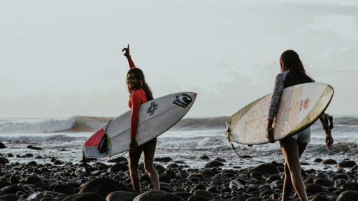 El Salvador, surfers at the beach